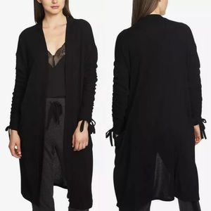 1. STATE Ruched Sleeve Open Front Cardigan XS
